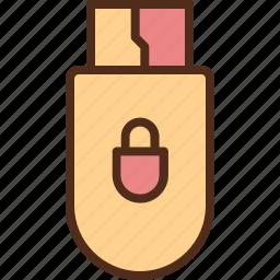 disk, drive, key, lock, security, usb icon