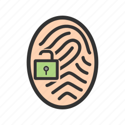 fingerprint, identity, lock, protection, secure, security icon