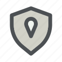 gps, location, map, pointer, security, shield