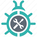 bug, fixing, security, shield, spyware icon