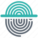 fingerprint, security, shield, spyware icon