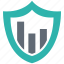analytics, data, lock, protection, secure, security, shield icon