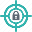 lock, protection, secure, security, shield, target icon