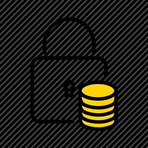 database protection, database security, locked database, secured data, secured transaction icon