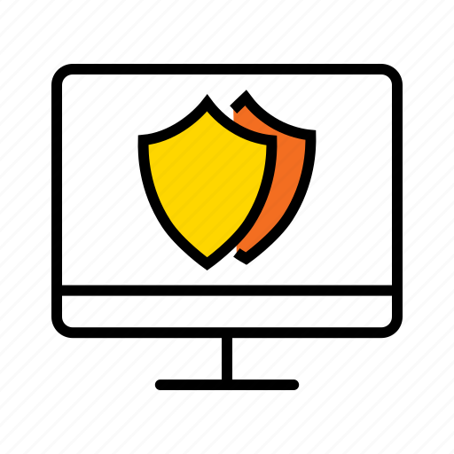 antivirus protected, password protected, private computer, protected computer, secured computer icon