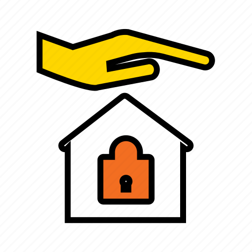 home protection, locked home, protect home, safe home, secured home, smart home icon