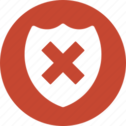 alert, error, fail, protect, protection, security, shield problem icon
