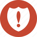 alarm, alert, attention, error, protection, security, shield warning icon