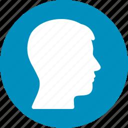 account, avatar, customer, human head, man, person, user profile icon