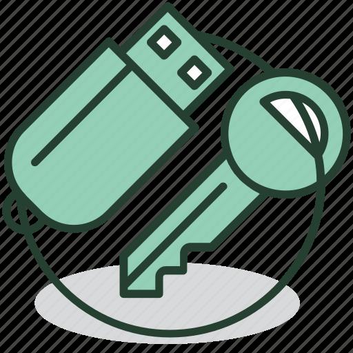 data, electronic, flashdrive, key, lock, protection, security icon