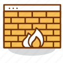 firewall, internet, page, protection, safety, wall, web icon
