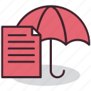 contract, document, insurance, protection, safety, security, umbrella icon