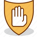 area, forbidden, no, palm, restricted, stop, warning icon
