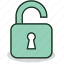 open, padlock, password, protection, safety, security, unlocked icon