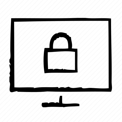 computer, lock, protection, security icon
