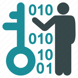 access, binary code, decode, key, password, security, user icon