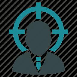 aim, center, goal, point, target, targeting arrow, user icon