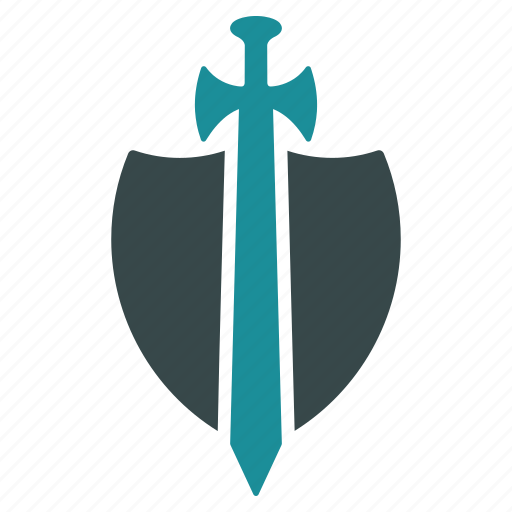 heraldic, protection, safety, security, shield, sword, weapon icon