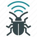 antenna, bug, equipment, radio, security, signal, virus icon