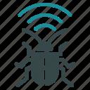 antenna, bug, equipment, radio, security, signal, virus