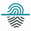 biometric, fingerprint, identification, identity, protection, scan, trace icon