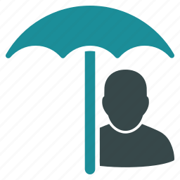 account, person, profile, protection, umbrella, user, weather icon