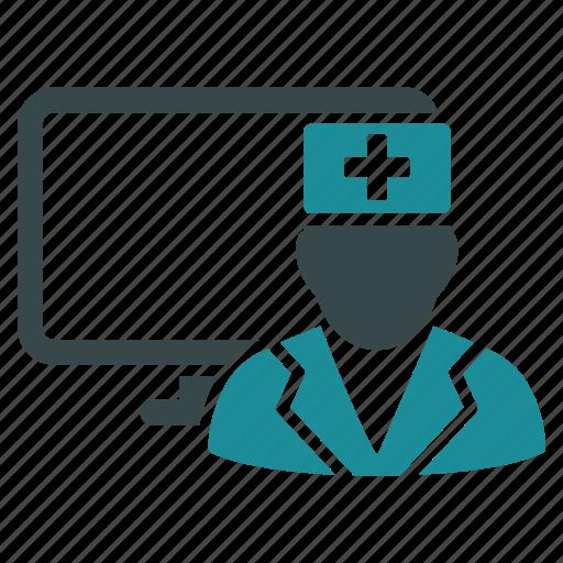 computer, doctor, healthcare, medical, medicine, monitor, screen icon