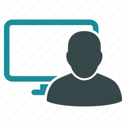 computer, display, monitor, online, screen, user, work icon
