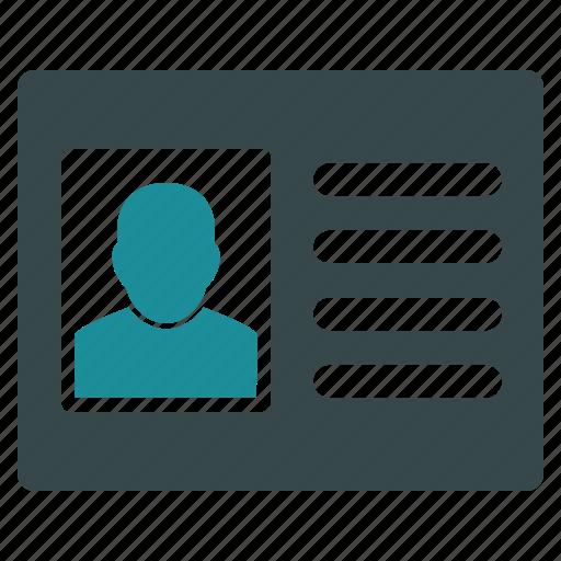 account card, account profile, case record, info, information, person, user data icon