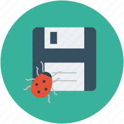 bug, bug in data, bug in floppy, data storage bug, security concept, storage bug icon