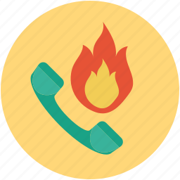 case of fire, emergency alert, emergency number, emergency services, hotline icon