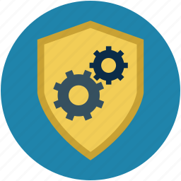 safety concept, safety options, settings, shield and cogs, shield with gear wheels icon