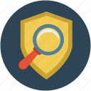 safety concept, safety inspection, safety search, shield with magnifier, survey icon