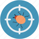 bugg scanning, bugs target, virus protection, virus safety concept, virus targeting icon