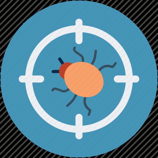 bugg scanning, bugs target, virus protection, virus safety concept, virus targeting icon