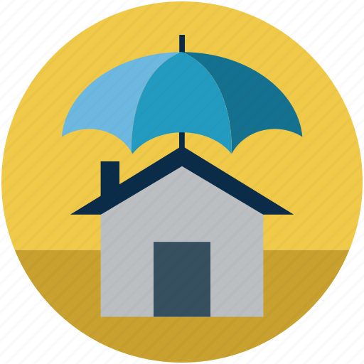 home and parasol, home and umbrella, home protection, home protection concept, home safety, safety concept icon