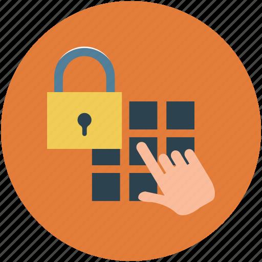 access lock, code lock, digital security lock, keypad lock, numerical code lock icon