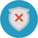 insecure, risky, shield cross, unreliable, unsafe, unsure icon