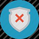 insecure, risky, shield cross, unreliable, unsafe, unsure icon