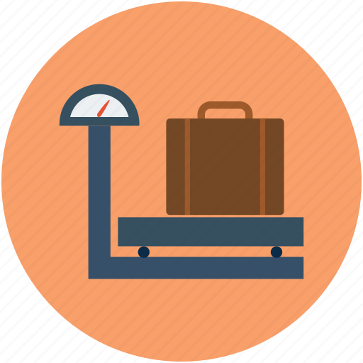 airport, airport custom, travel, weighing, weighing scale, weight of luggage icon