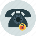 safe communication, safety concept, secure communications, telephone set with lock, telephone with lock icon