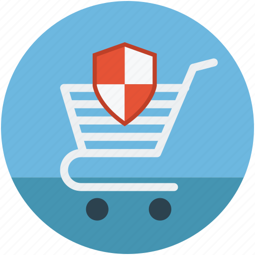 ecommerce protection concept, reliable shopping, safe shopping, secure shopping, shopping cart shield icon