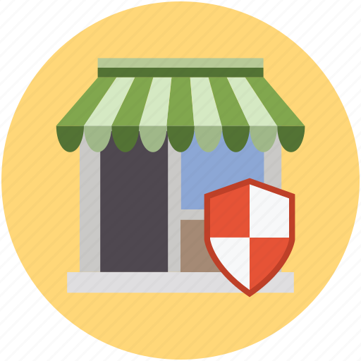 digital protection, online secure shopping concept, online shopping, online store, shop, shopping mall, store shield icon