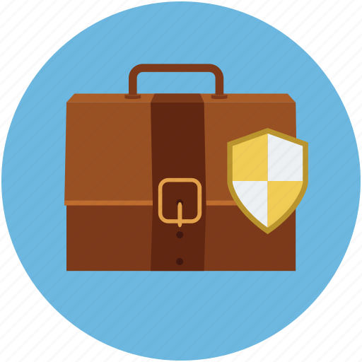 briefcase and shield, briefcase with shield, portfolio shield, protection, safe portfolio, safety concept icon