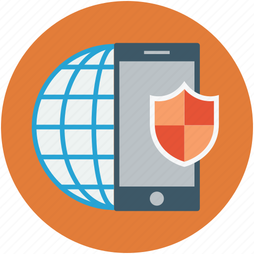 digital protection, mobile internet security, mobile shield, mobile with shield, safety concept icon