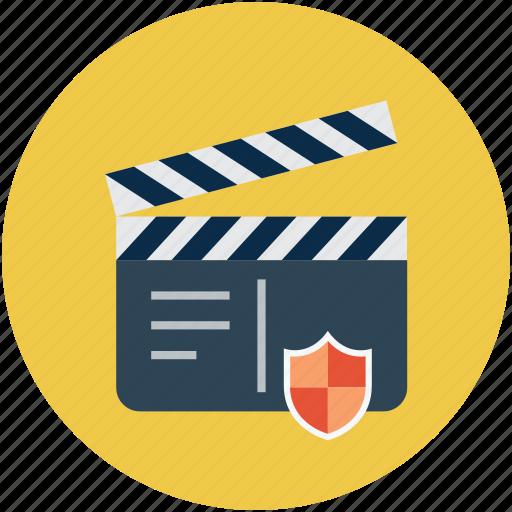 clapper shield, digital protection concept, digital security, media safety concept, media security concept icon