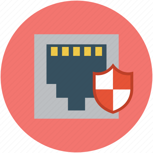 digital protection, network socket shield, protect connection, safe internet, safety concept, secure connection icon