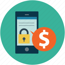 mobile with dollar and lock, online business, online business security, online transaction concept, online withdrawal concept icon