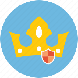 crow shield, crown and shield, crown with shield, protection, safety concept icon