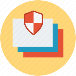 data safety, papers shield, protected files, safe documentation, secure data, secure documentation icon